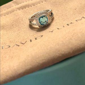 David Yurman Albion Ring Blue Topaz & Diamonds